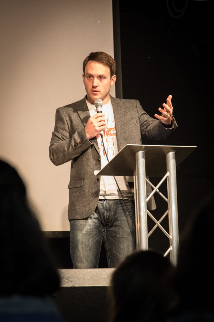 Jonathan Sherwin speaking to an audience